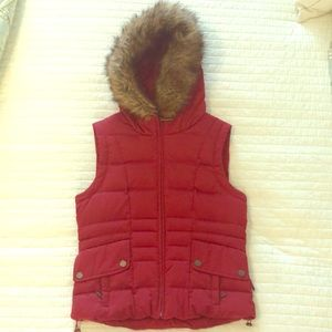 Calvin Klein XS Red Vest with fur lined hood